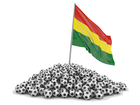Pile of Soccer footballs and Bolivian flag. Image with clipping path Vector illustration.