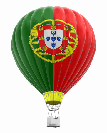 Hot Air Balloon with Portuguese Flag Image with clipping path
