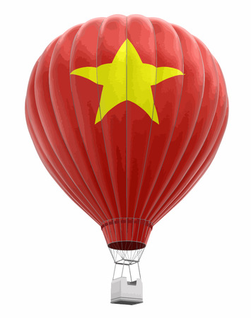 Hot Air Balloon with Vietnamese Flag Image with clipping path