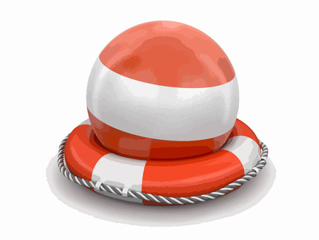 Ball with Austrian flag on lifebuoy. Image with clipping path Vector illustration.
