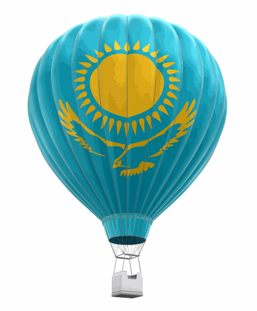 Hot Air Balloon with Kazakh Flag. Image with clipping path Vector illustration.