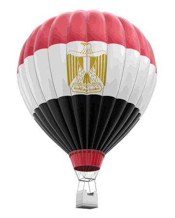 Hot Air Balloon with Egyptian Flag. Image with clipping path Vector illustration.