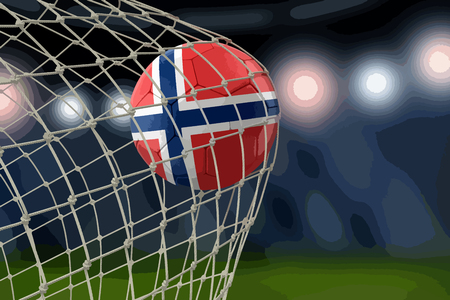 Norwegian soccer ball in net Vector illustration.