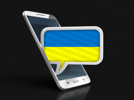 Touchscreen smartphone and Speech bubble with Ukrainian flag. Image with clipping path Stock Photo