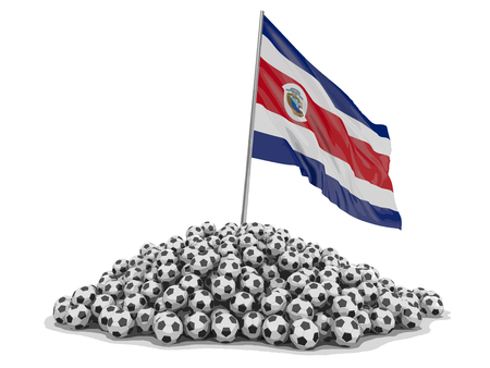 Soccer football with Costa Rican flag. Image with clipping path