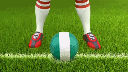 Man and soccer ball with Nigerian flag Vector illustration.