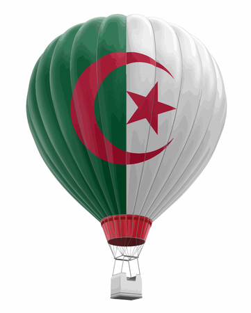 Hot Air Balloon with Algerian Flag. Image with clipping path Illustration