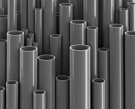 Plastic pipes of gray color