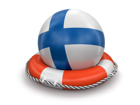 Ball with Finnish flag on lifebuoy. Image with clipping path