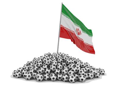 Soccer footballs with Iranian flag. Image with clipping path. 向量圖像
