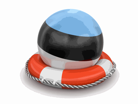 Ball with Estonian flag on lifebuoy. Image with clipping path.