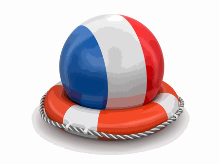 Ball with French flag on lifebuoy. Image with clipping path.