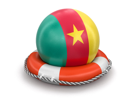 Ball with Cameroon flag on lifebuoy. Image with clipping path Stockfoto