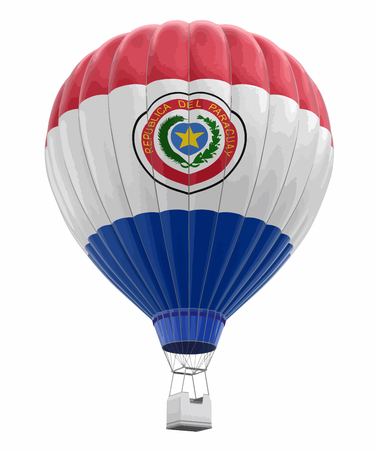 Hot air balloon with Paraguayan flag, image with clipping path. 向量圖像