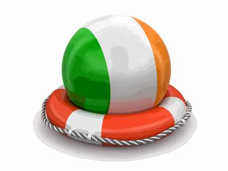 Ball with Irish flag on lifebuoy. Image with clipping path