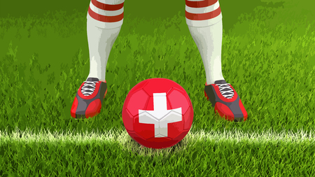 Man and soccer ball with Swiss flag