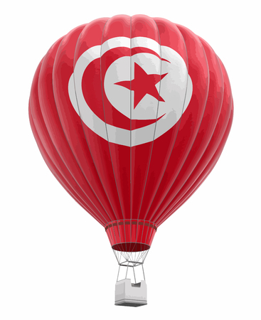 Hot Air Balloon with Tunisian Flag. Image with clipping path  イラスト・ベクター素材