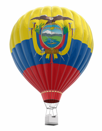 Hot Air Balloon with Ecuadorian Flag. Image with clipping path Vector illustration.