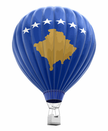Hot Air Balloon with Kosovo Flag. Image with clipping path Vector illustration. 일러스트