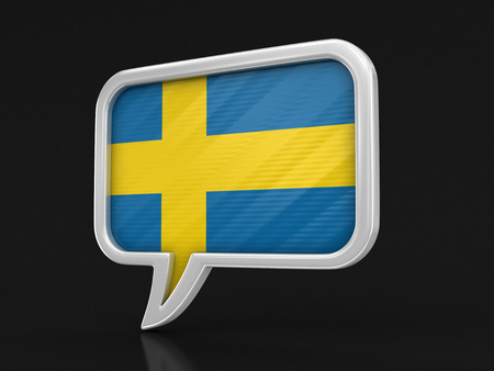 Speech bubble with Swedish flag. Image with clipping path