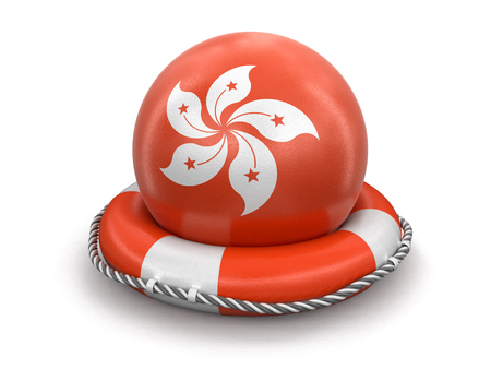Ball with Hong Kong flag on lifebuoy. Image with clipping path Stock Photo
