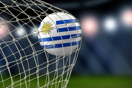 Uruguayan soccerball in net 版權商用圖片