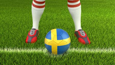 Man and soccer ball with Swedish flag