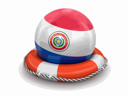 Ball with Paraguayan flag on lifebuoy. Image with clipping path