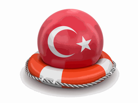Ball with Turkish flag on lifebuoy icon Çizim