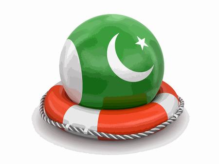 Ball with Pakistani flag on lifebuoy icon