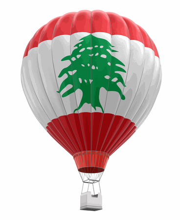 Hot Air Balloon with Lebanese Flag. Image with clipping path.