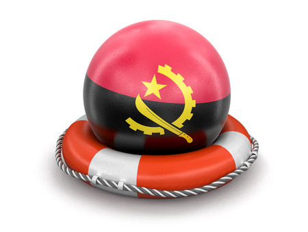 Ball with Angola flag on lifebuoy. Image with clipping path