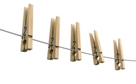 Wooden clothespins on rope. Image with clipping path Stock Photo