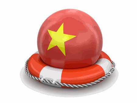 Ball with Vietnamese flag on lifebuoy. Image with clipping path Illustration