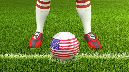 Man and soccer ball with USA flag