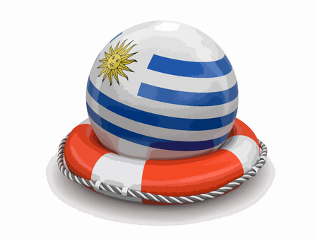 Ball with Uruguayan flag on lifebuoy. Image with clipping path