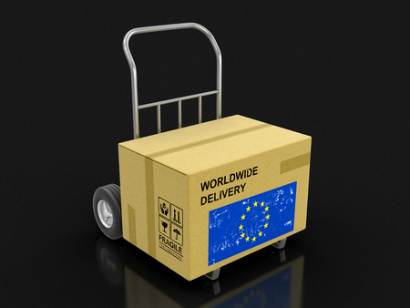 Cardboard Box on Hand Truck with European Union flag. Image with clipping path Stock Photo