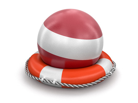 Ball with Latvian flag on lifebuoy. Image with clipping path