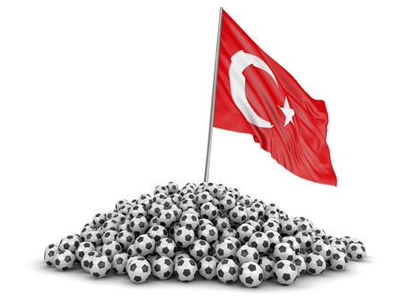 Soccer footballs with Turkish flag. Image with clipping path