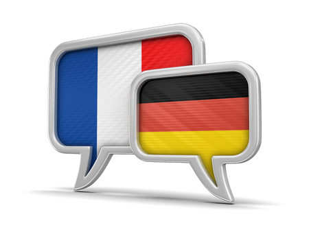 Speech bubbles with flags. Stock Photo