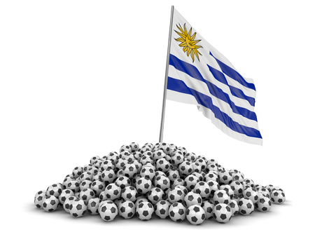 Soccer footballs with Uruguayan flag. Image with clipping path