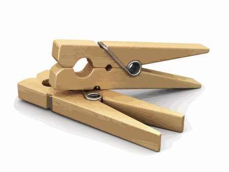 Wooden clothespin. Image with clipping path