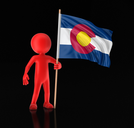 Man and flag of the US state of Colorado. Image with clipping path