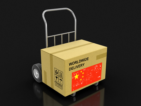 Cardboard Box on Hand Truck with Chinese flag. Image with clipping path