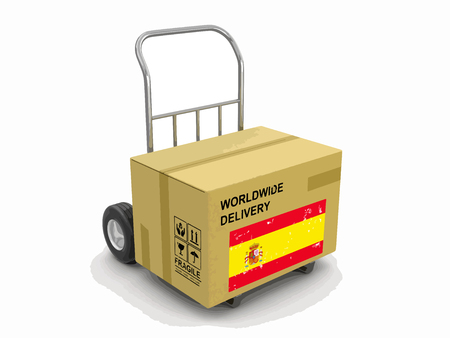 Cardboard Box on a Hand Truck with Spanish flag. Image with clipping path