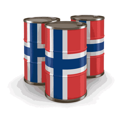 Oil barrel with flag of Norway. Image with clipping path