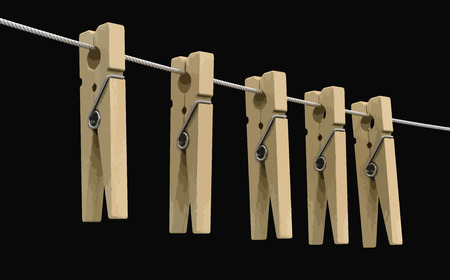 Wooden clothespins on rope. Image with clipping path Ilustrace