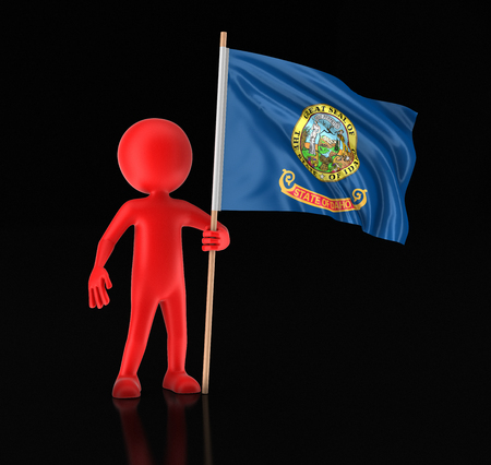 Man and flag of the US state of Idaho. Image with clipping path