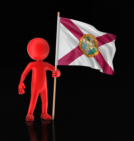 Man and flag of the US state of Florida. Image with clipping path