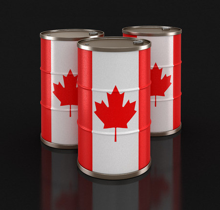 Oil barrel with flag of Canada. Image with clipping path 写真素材
